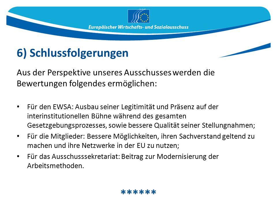 Aus der Perspektive unseres Ausschusses werden die Bewertungen folgendes ermöglichen: Für den EWSA: Ausbau seiner Legitimität und Präsenz auf der interinstitutionellen Bühne während des gesamten Gesetzgebungsprozesses, sowie bessere Qualität seiner Stellungnahmen; Für die Mitglieder: Bessere Möglichkeiten, ihren Sachverstand geltend zu machen und ihre Netzwerke in der EU zu nutzen; Für das Ausschusssekretariat: Beitrag zur Modernisierung der Arbeitsmethoden.