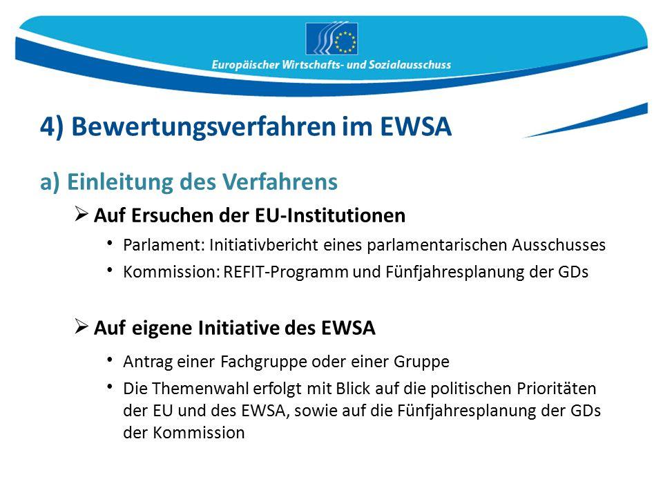 a) Einleitung des Verfahrens  Auf Ersuchen der EU-Institutionen Parlament: Initiativbericht eines parlamentarischen Ausschusses Kommission: REFIT-Programm und Fünfjahresplanung der GDs  Auf eigene Initiative des EWSA Antrag einer Fachgruppe oder einer Gruppe Die Themenwahl erfolgt mit Blick auf die politischen Prioritäten der EU und des EWSA, sowie auf die Fünfjahresplanung der GDs der Kommission 4) Bewertungsverfahren im EWSA
