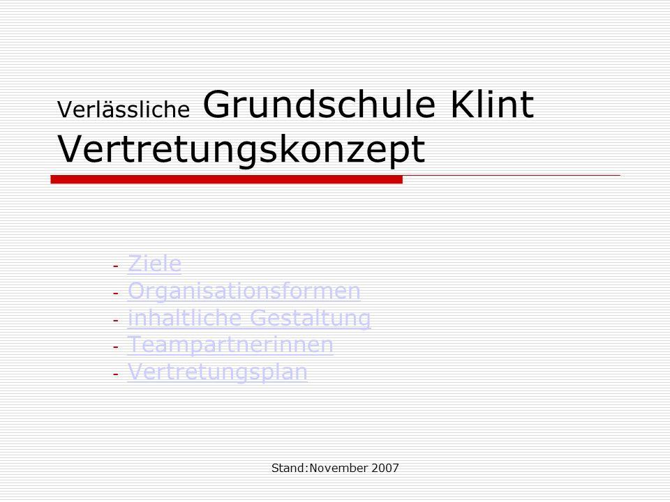 Stand:November 2007 Verlässliche Grundschule Klint Vertretungskonzept - ZieleZiele - OrganisationsformenOrganisationsformen - inhaltliche Gestaltungin