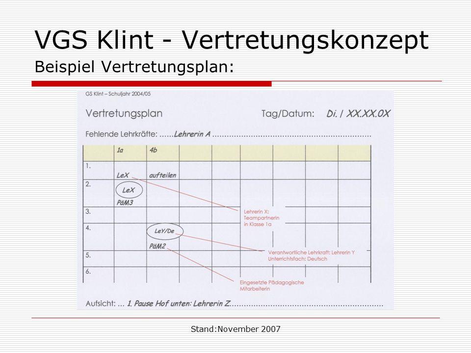 Stand:November 2007 VGS Klint - Vertretungskonzept Beispiel Vertretungsplan: