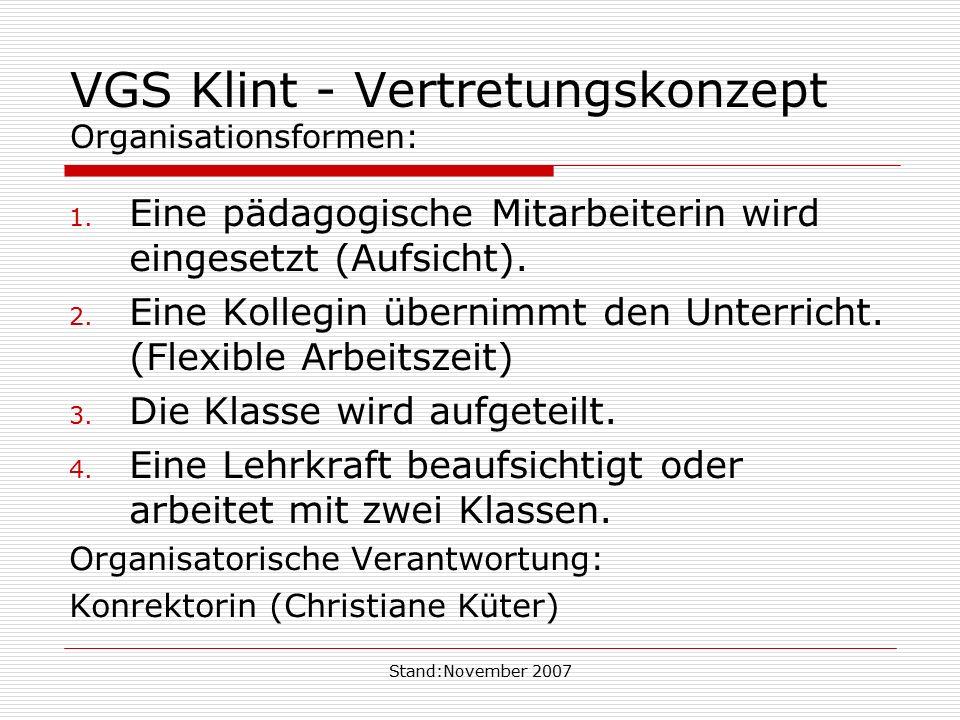 Stand:November 2007 VGS Klint - Vertretungskonzept Organisationsformen: 1. Eine pädagogische Mitarbeiterin wird eingesetzt (Aufsicht). 2. Eine Kollegi