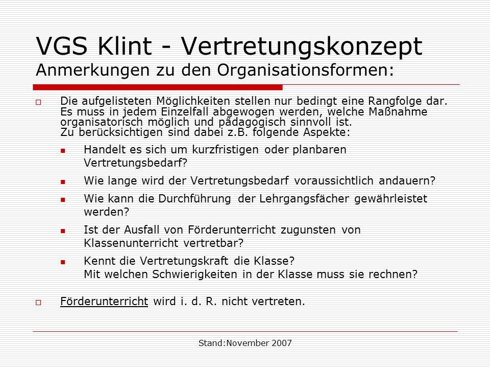 Stand:November 2007 VGS Klint - Vertretungskonzept inhaltliche Gestaltung und Verantwortung:  Die pädagogische Mitarbeiterin betreut / beaufsichtigt die Klasse.