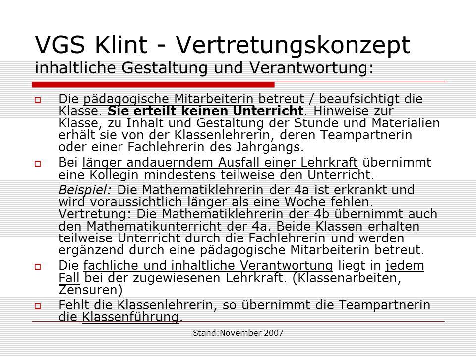 Stand:November 2007 VGS Klint - Vertretungskonzept inhaltliche Gestaltung und Verantwortung:  Die pädagogische Mitarbeiterin betreut / beaufsichtigt