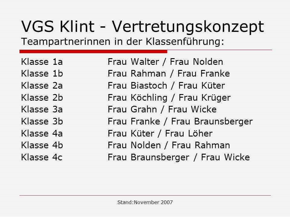 Stand:November 2007 VGS Klint - Vertretungskonzept Teampartnerinnen in der Klassenführung: Klasse 1aFrau Walter / Frau Nolden Klasse 1bFrau Rahman / F