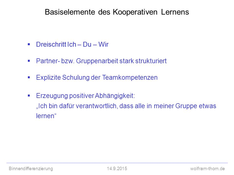 Binnendifferenzierung14.9.2015wolfram-thom.de Basiselemente des Kooperativen Lernens  Dreischritt Ich – Du – Wir  Partner- bzw. Gruppenarbeit stark