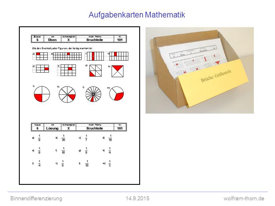 Binnendifferenzierung14.9.2015wolfram-thom.de Aufgabenkarten Mathematik