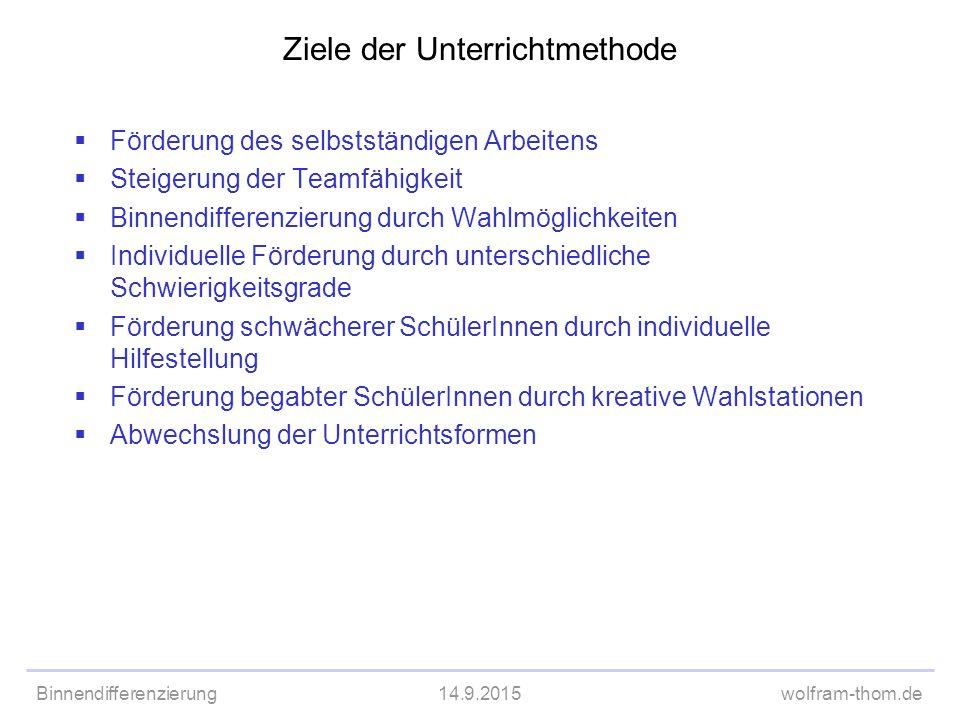 Binnendifferenzierung14.9.2015wolfram-thom.de Ziele der Unterrichtmethode  Förderung des selbstständigen Arbeitens  Steigerung der Teamfähigkeit  B