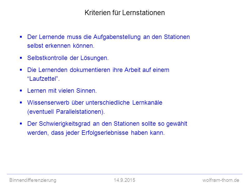 Binnendifferenzierung14.9.2015wolfram-thom.de  Der Lernende muss die Aufgabenstellung an den Stationen selbst erkennen können.  Selbstkontrolle der