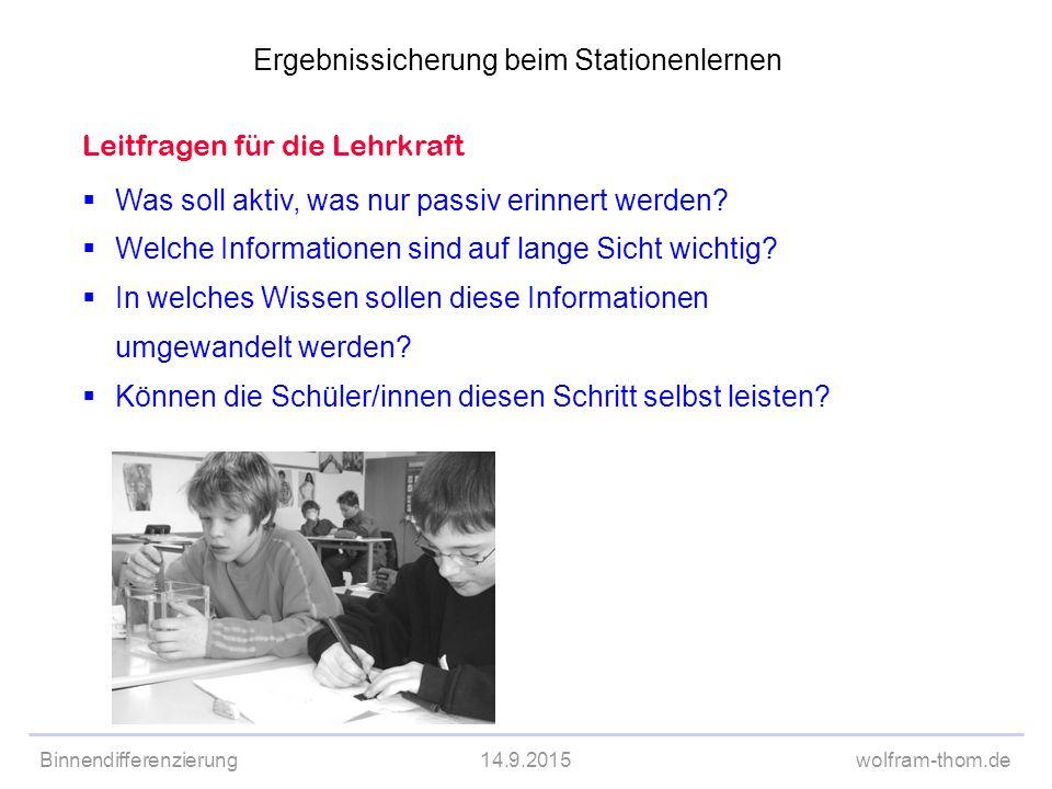 Binnendifferenzierung14.9.2015wolfram-thom.de  Was soll aktiv, was nur passiv erinnert werden?  Welche Informationen sind auf lange Sicht wichtig? 