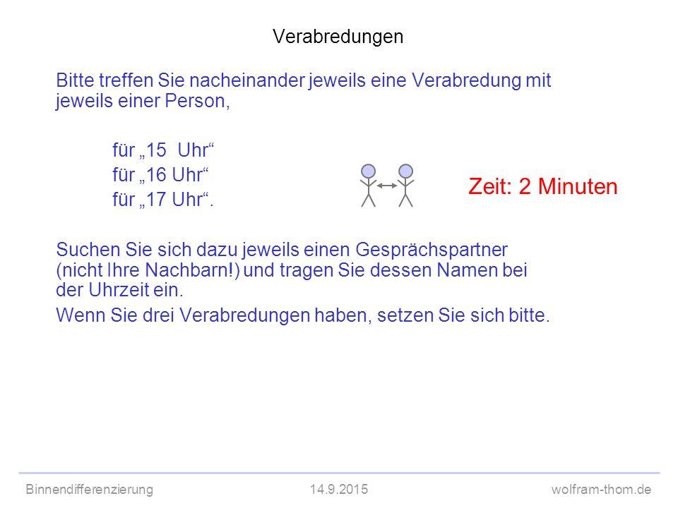 """Binnendifferenzierung14.9.2015wolfram-thom.de Verabredungen Bitte treffen Sie nacheinander jeweils eine Verabredung mit jeweils einer Person, für """"15"""