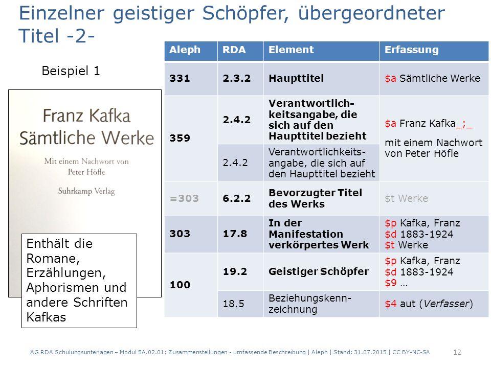 AG RDA Schulungsunterlagen – Modul 5A.02.01: Zusammenstellungen - umfassende Beschreibung | Aleph | Stand: 31.07.2015 | CC BY-NC-SA 12 AlephRDAElementErfassung 3312.3.2Haupttitel$a Sämtliche Werke 359 2.4.2 Verantwortlich- keitsangabe, die sich auf den Haupttitel bezieht $a Franz Kafka_;_ mit einem Nachwort von Peter Höfle 2.4.2 Verantwortlichkeits- angabe, die sich auf den Haupttitel bezieht =3036.2.2 Bevorzugter Titel des Werks $t Werke 30317.8 In der Manifestation verkörpertes Werk $p Kafka, Franz $d 1883-1924 $t Werke 100 19.2Geistiger Schöpfer $p Kafka, Franz $d 1883-1924 $9 … 18.5 Beziehungskenn- zeichnung $4 aut (Verfasser) Enthält die Romane, Erzählungen, Aphorismen und andere Schriften Kafkas Einzelner geistiger Schöpfer, übergeordneter Titel -2- Beispiel 1
