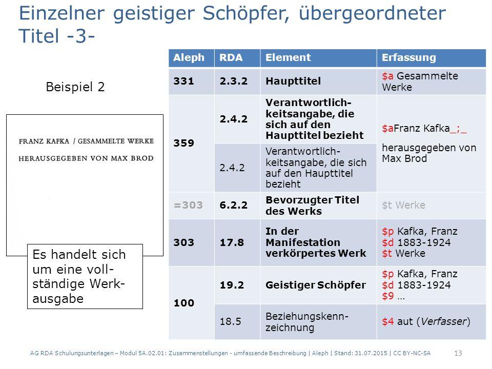 AG RDA Schulungsunterlagen – Modul 5A.02.01: Zusammenstellungen - umfassende Beschreibung | Aleph | Stand: 31.07.2015 | CC BY-NC-SA 13 AlephRDAElementErfassung 3312.3.2Haupttitel $a Gesammelte Werke 359 2.4.2 Verantwortlich- keitsangabe, die sich auf den Haupttitel bezieht $aFranz Kafka_;_ herausgegeben von Max Brod 2.4.2 Verantwortlich- keitsangabe, die sich auf den Haupttitel bezieht =3036.2.2 Bevorzugter Titel des Werks $t Werke 30317.8 In der Manifestation verkörpertes Werk $p Kafka, Franz $d 1883-1924 $t Werke 100 19.2Geistiger Schöpfer $p Kafka, Franz $d 1883-1924 $9 … 18.5 Beziehungskenn- zeichnung $4 aut (Verfasser) Es handelt sich um eine voll- ständige Werk- ausgabe Einzelner geistiger Schöpfer, übergeordneter Titel -3- Beispiel 2