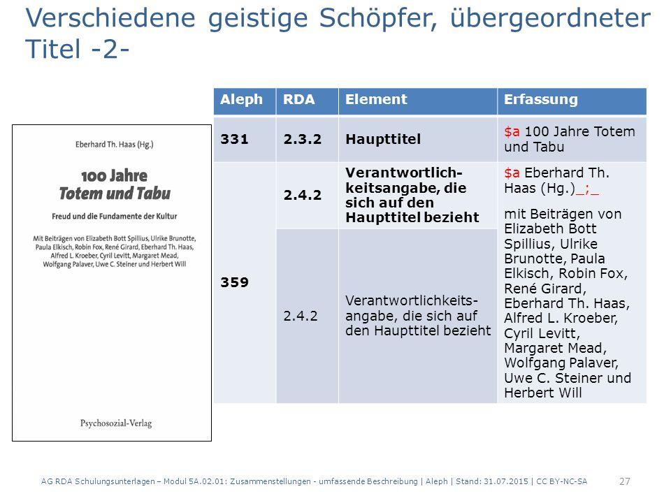 AG RDA Schulungsunterlagen – Modul 5A.02.01: Zusammenstellungen - umfassende Beschreibung | Aleph | Stand: 31.07.2015 | CC BY-NC-SA 27 AlephRDAElementErfassung 3312.3.2Haupttitel $a 100 Jahre Totem und Tabu 359 2.4.2 Verantwortlich- keitsangabe, die sich auf den Haupttitel bezieht $a Eberhard Th.