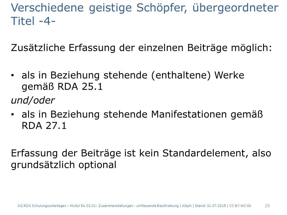 Verschiedene geistige Schöpfer, übergeordneter Titel -4- Zusätzliche Erfassung der einzelnen Beiträge möglich: als in Beziehung stehende (enthaltene) Werke gemäß RDA 25.1 und/oder als in Beziehung stehende Manifestationen gemäß RDA 27.1 Erfassung der Beiträge ist kein Standardelement, also grundsätzlich optional AG RDA Schulungsunterlagen – Modul 5A.02.01: Zusammenstellungen - umfassende Beschreibung | Aleph | Stand: 31.07.2015 | CC BY-NC-SA 29