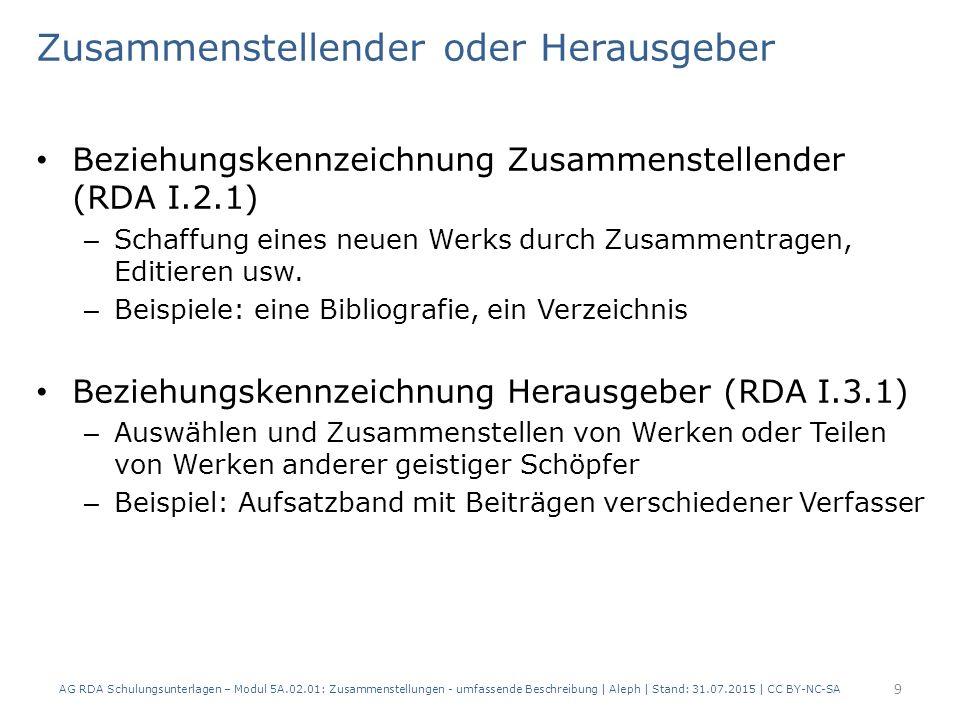 Umfassende Beschreibung Grundprinzipien: Mit übergeordnetem Titel (RDA 2.3.2.6) – Übergeordneter Titel wird zum Haupttitel der Manifestation – Hauptsächliches in der Manifestation verkörpertes Werk ist das Werk der Zusammenstellung, enthaltene Werke können als in Beziehung stehende Werke erfasst werden – vorliegenden Titel der Teile können als Titel von in Beziehung stehenden Manifestationen erfasst werden Ohne übergeordneten Titel (RDA 2.3.2.9) – Alle Manifestationstitel werden erfasst – Nur das erste oder hauptsächliche in der Manifestation verkörperte Werk muss erfasst werden AG RDA Schulungsunterlagen – Modul 5A.02.01: Zusammenstellungen - umfassende Beschreibung | Aleph | Stand: 31.07.2015 | CC BY-NC-SA 10