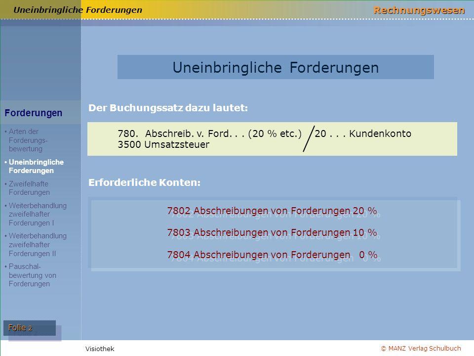 © MANZ Verlag Schulbuch Rechnungswesen Visiothek Folie 2 Uneinbringliche Forderungen Der Buchungssatz dazu lautet: 780.