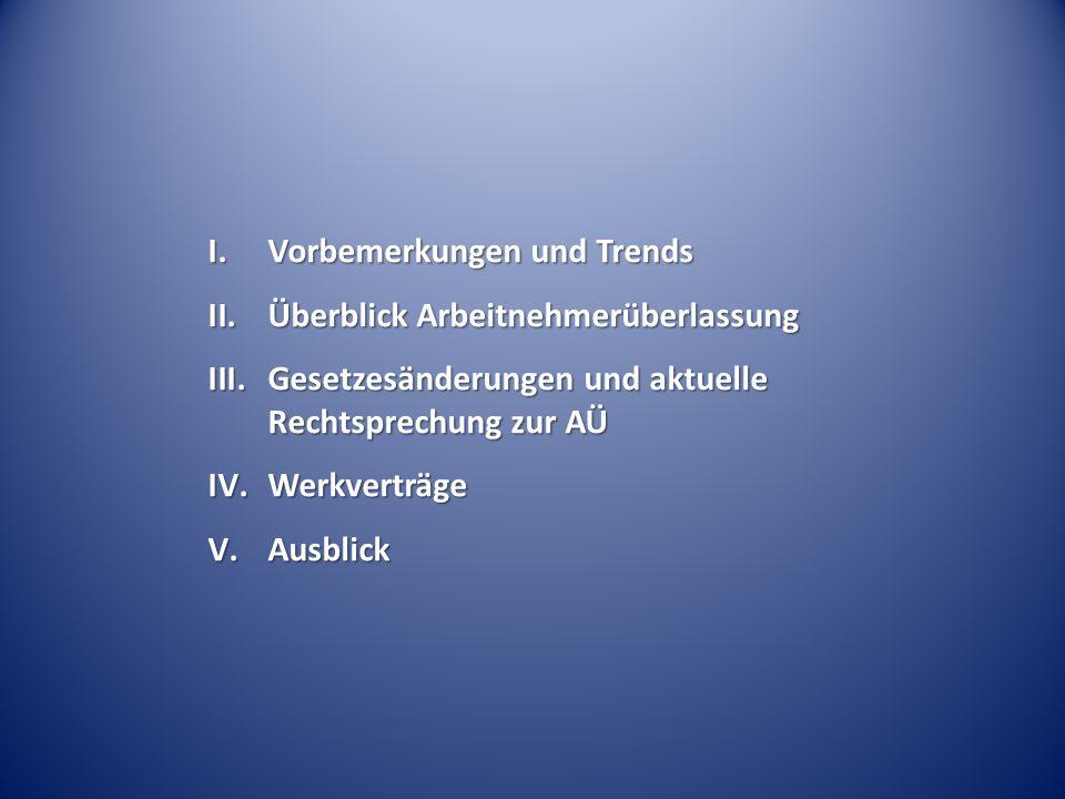 I.Vorbemerkungen und Trends II.Überblick Arbeitnehmerüberlassung III.Gesetzesänderungen und aktuelle Rechtsprechung zur AÜ IV.Werkverträge V.Ausblick