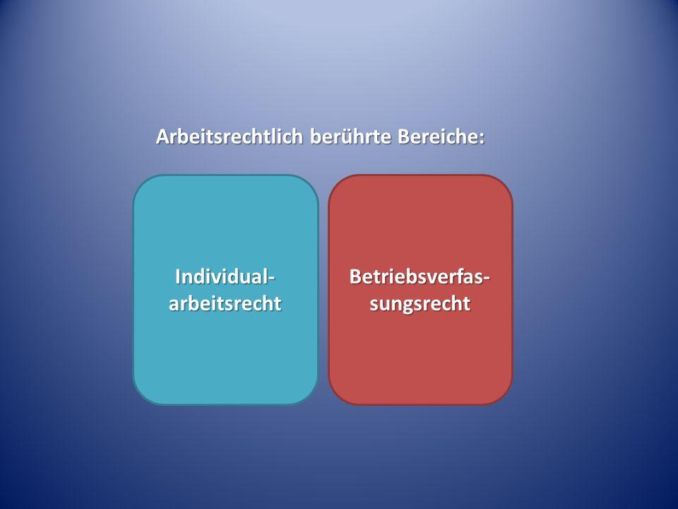 Arbeitsrechtlich berührte Bereiche: Individual- arbeitsrecht Betriebsverfas- sungsrecht