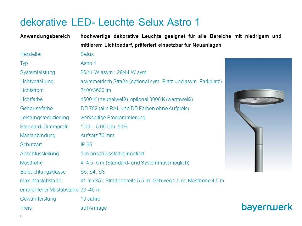 6 Anwendungsbereichhochwertige dekorative Leuchte geeignet für alle Bereiche mit niedrigem und mittlerem Lichtbedarf, präferiert einsetzbar für Neuanlagen HerstellerSelux TypAstro 1 Systemleistung26/41 W asym.; 29/44 W sym.