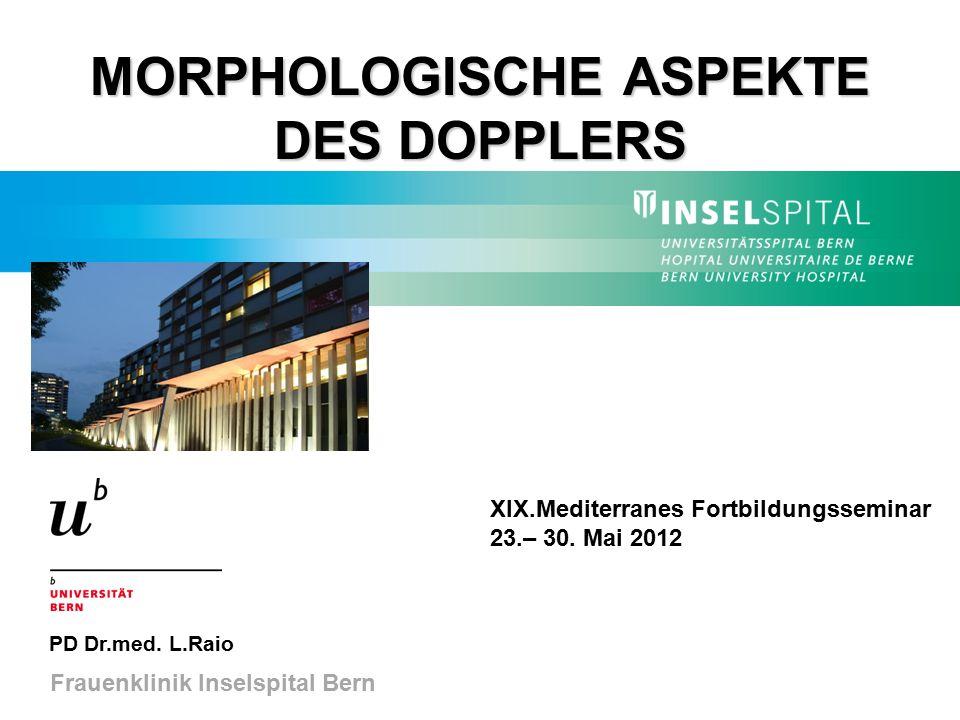 MORPHOLOGISCHE ASPEKTE DES DOPPLERS PD Dr.med. L.Raio Frauenklinik Inselspital Bern XIX.Mediterranes Fortbildungsseminar 23.– 30. Mai 2012