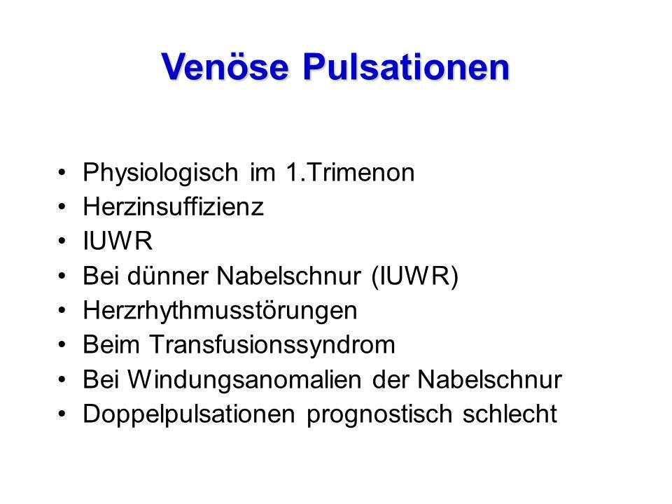 Physiologisch im 1.Trimenon Herzinsuffizienz IUWR Bei dünner Nabelschnur (IUWR) Herzrhythmusstörungen Beim Transfusionssyndrom Bei Windungsanomalien d