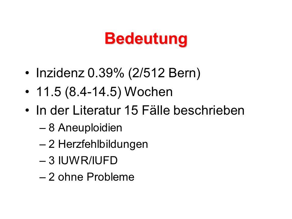 Bedeutung Inzidenz 0.39% (2/512 Bern) 11.5 (8.4-14.5) Wochen In der Literatur 15 Fälle beschrieben –8 Aneuploidien –2 Herzfehlbildungen –3 IUWR/IUFD –