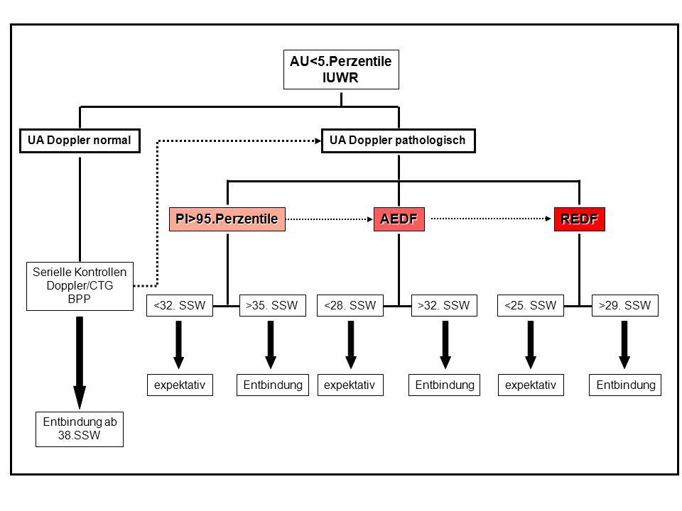 AU<5.PerzentileIUWR UA Doppler normalUA Doppler pathologisch PI>95.PerzentileAEDFREDF Serielle Kontrollen Doppler/CTG BPP Entbindung ab 38.SSW <32. SS