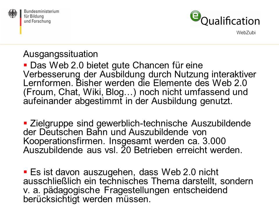 Ausgangssituation  Das Web 2.0 bietet gute Chancen für eine Verbesserung der Ausbildung durch Nutzung interaktiver Lernformen.