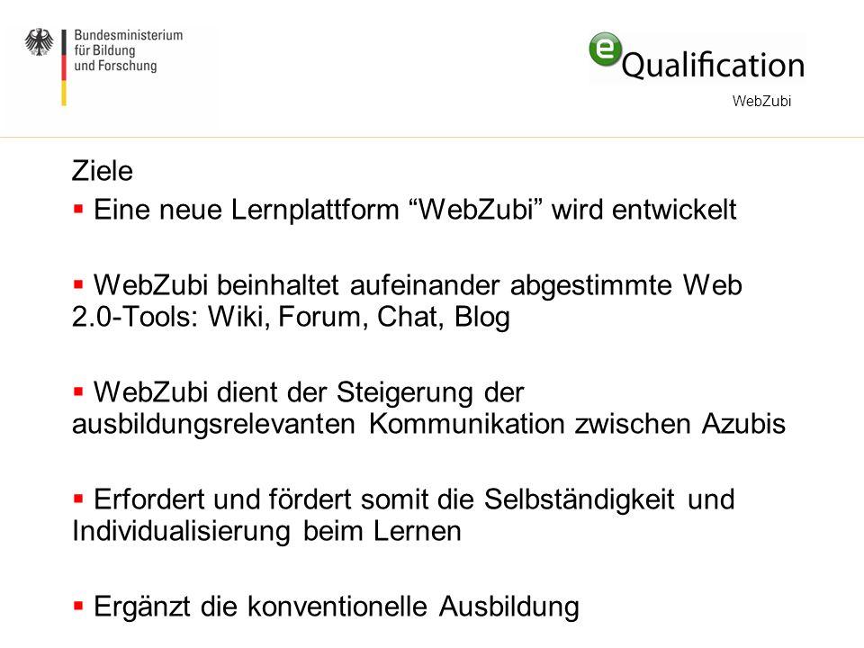 Ziele  Eine neue Lernplattform WebZubi wird entwickelt  WebZubi beinhaltet aufeinander abgestimmte Web 2.0-Tools: Wiki, Forum, Chat, Blog  WebZubi dient der Steigerung der ausbildungsrelevanten Kommunikation zwischen Azubis  Erfordert und fördert somit die Selbständigkeit und Individualisierung beim Lernen  Ergänzt die konventionelle Ausbildung WebZubi