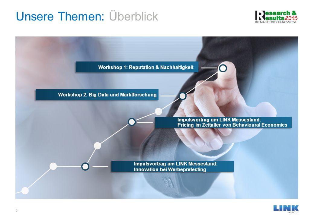 Unsere Themen: Überblick 3 Workshop 1: Reputation & Nachhaltigkeit Workshop 2: Big Data und Marktforschung Impulsvortrag am LINK Messestand: Pricing i
