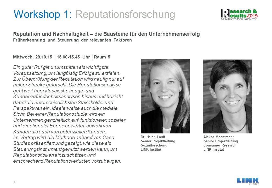 Workshop 1: Reputationsforschung 4 Reputation und Nachhaltigkeit – die Bausteine für den Unternehmenserfolg Früherkennung und Steuerung der relevanten