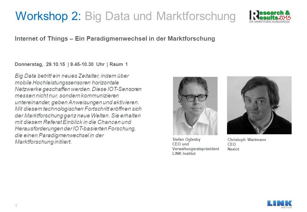 Workshop 2: Big Data und Marktforschung 5 Internet of Things – Ein Paradigmenwechsel in der Marktforschung Donnerstag, 29.10.15 | 9.45-10.30 Uhr | Rau