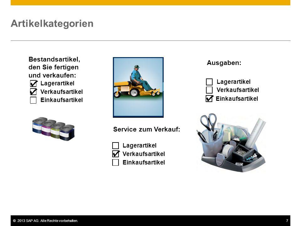 ©2013 SAP AG. Alle Rechte vorbehalten.7 Einkaufsartikel Artikelkategorien Einkaufsartikel Lagerartikel Verkaufsartikel Lagerartikel Verkaufsartikel Ei