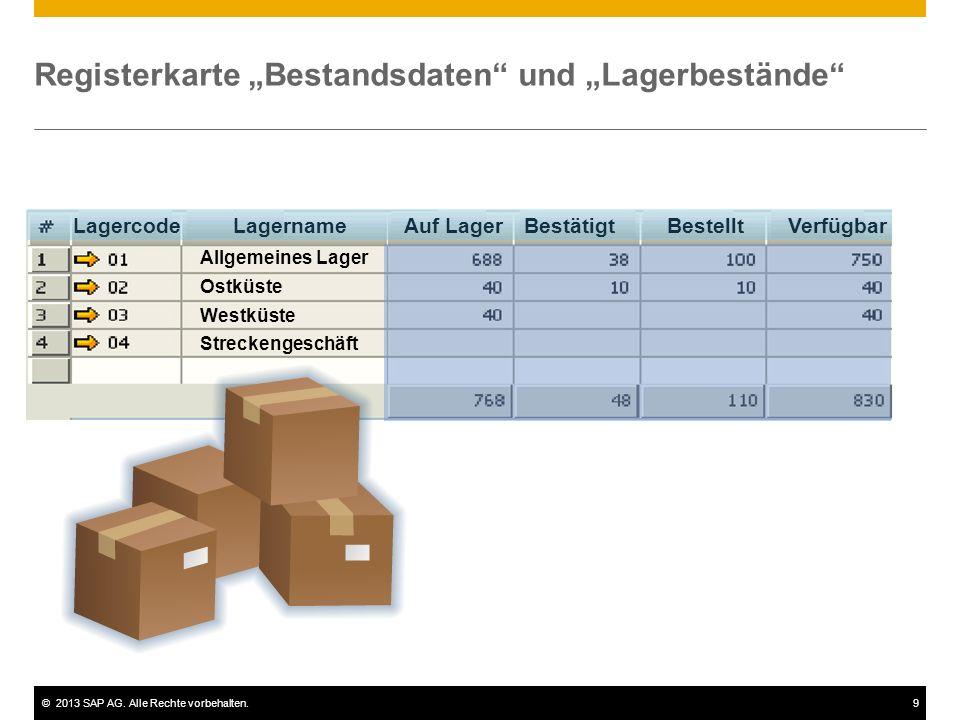 """©2013 SAP AG. Alle Rechte vorbehalten.9 Registerkarte """"Bestandsdaten"""" und """"Lagerbestände"""" Auf LagerBestätigtBestelltVerfügbarLagernameLagercode Allgem"""