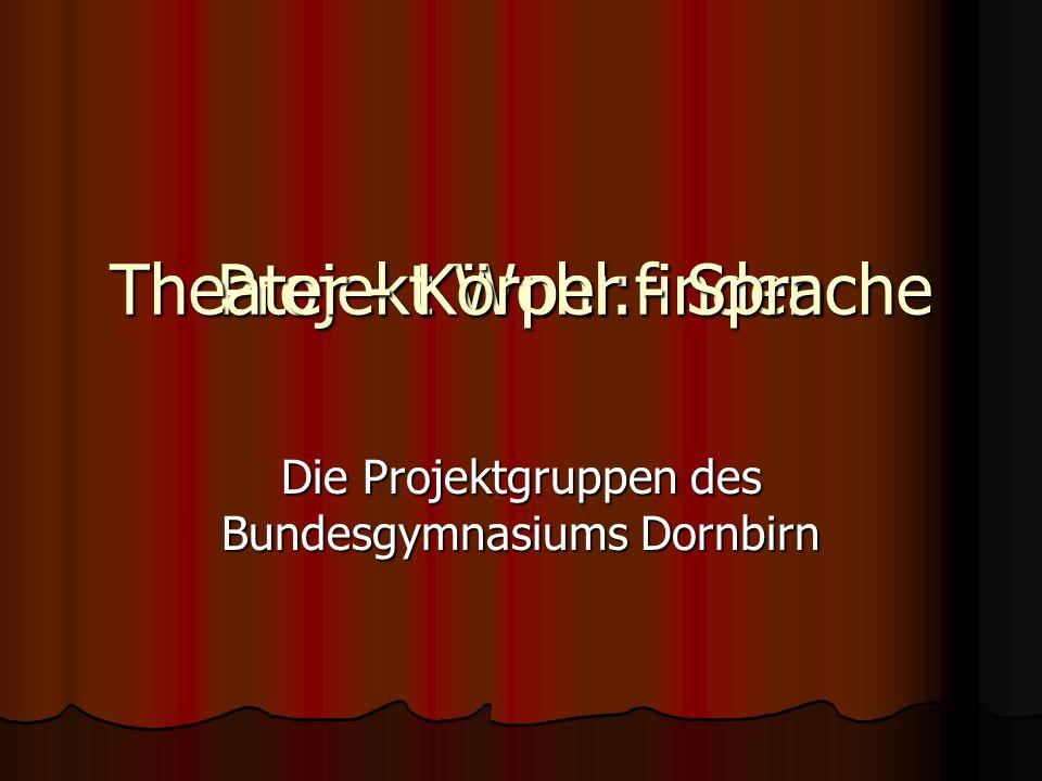 Projekt Wohl:finden Die Projektgruppen des Bundesgymnasiums Dornbirn Theater - Körper - Sprache