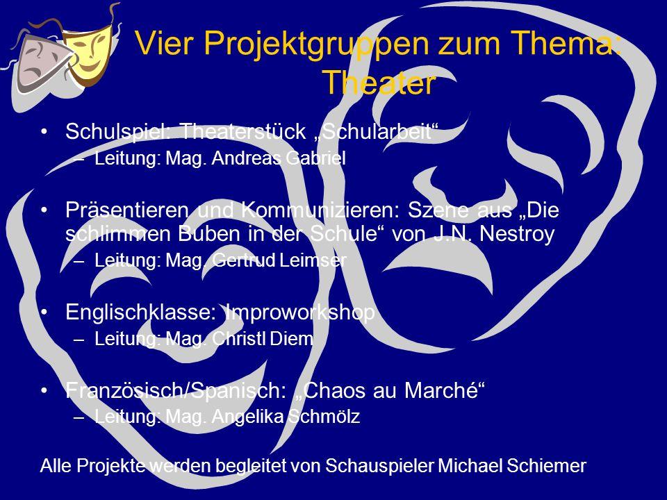 """Vier Projektgruppen zum Thema: Theater Schulspiel: Theaterstück """"Schularbeit –Leitung: Mag."""