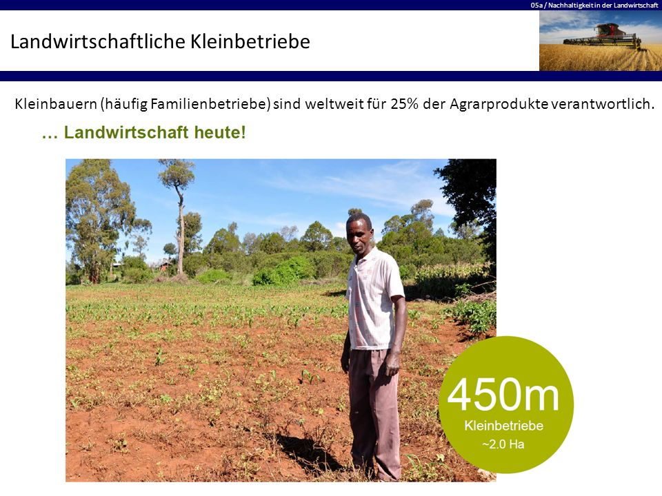 05a / Nachhaltigkeit in der Landwirtschaft Landwirtschaftliche Kleinbetriebe Kleinbauern (häufig Familienbetriebe) sind weltweit für 25% der Agrarprod