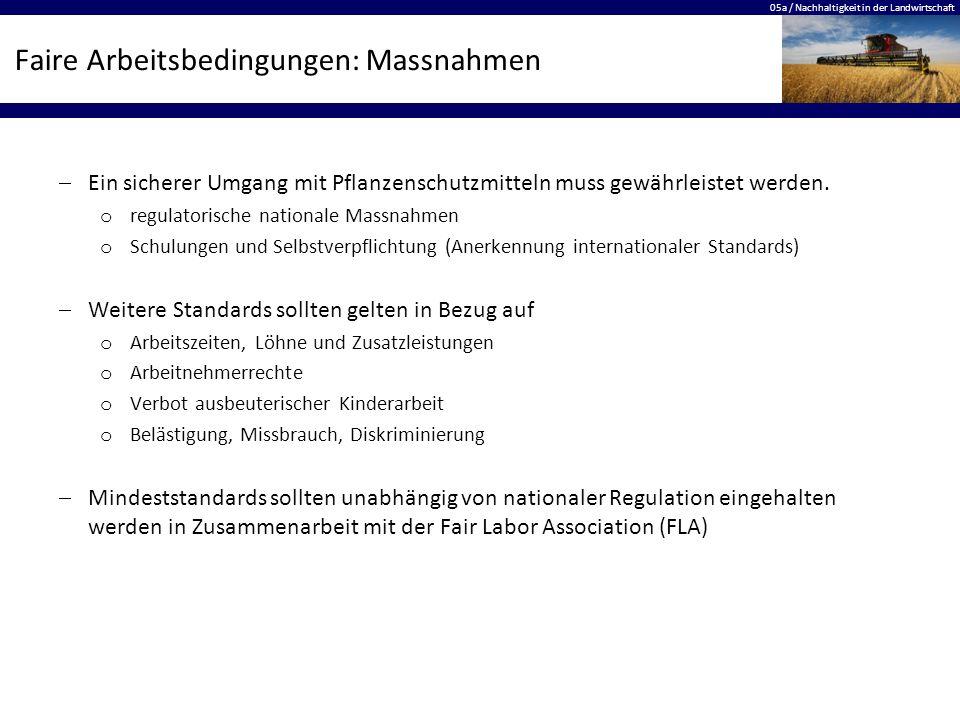 05a / Nachhaltigkeit in der Landwirtschaft Faire Arbeitsbedingungen: Massnahmen  Ein sicherer Umgang mit Pflanzenschutzmitteln muss gewährleistet wer