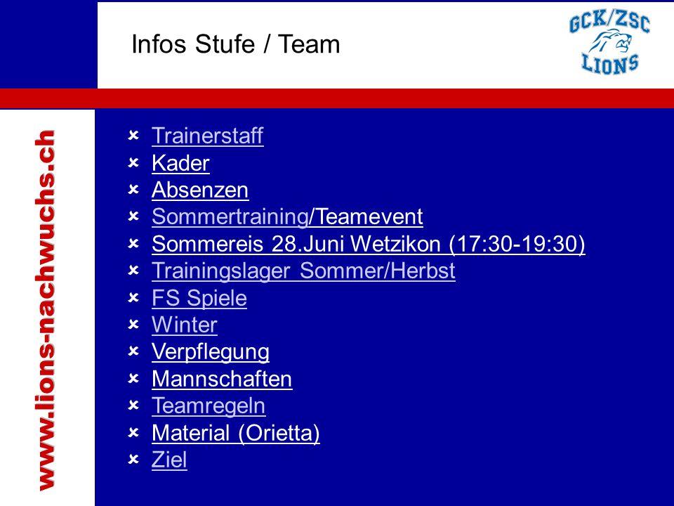 Traktanden Infos Stufe / Team  Trainerstaff Trainerstaff  Kader  Absenzen  Sommertraining/Teamevent Sommertraining  Sommereis 28.Juni Wetzikon (1