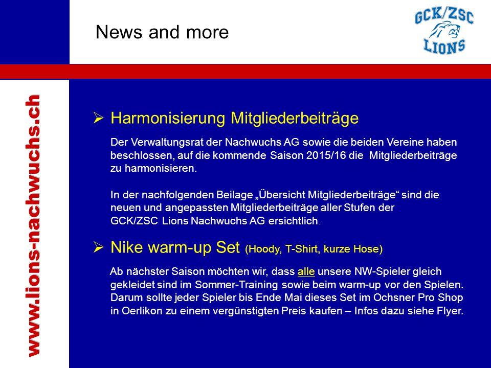 Traktanden News and more  Harmonisierung Mitgliederbeiträge Der Verwaltungsrat der Nachwuchs AG sowie die beiden Vereine haben beschlossen, auf die k