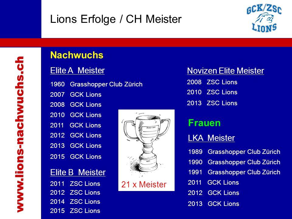 Traktanden Nachwuchs Elite A Meister 1960 Grasshopper Club Zürich 2007 GCK Lions 2008 GCK Lions 2010 GCK Lions 2011 GCK Lions 2012 GCK Lions 2013 GCK
