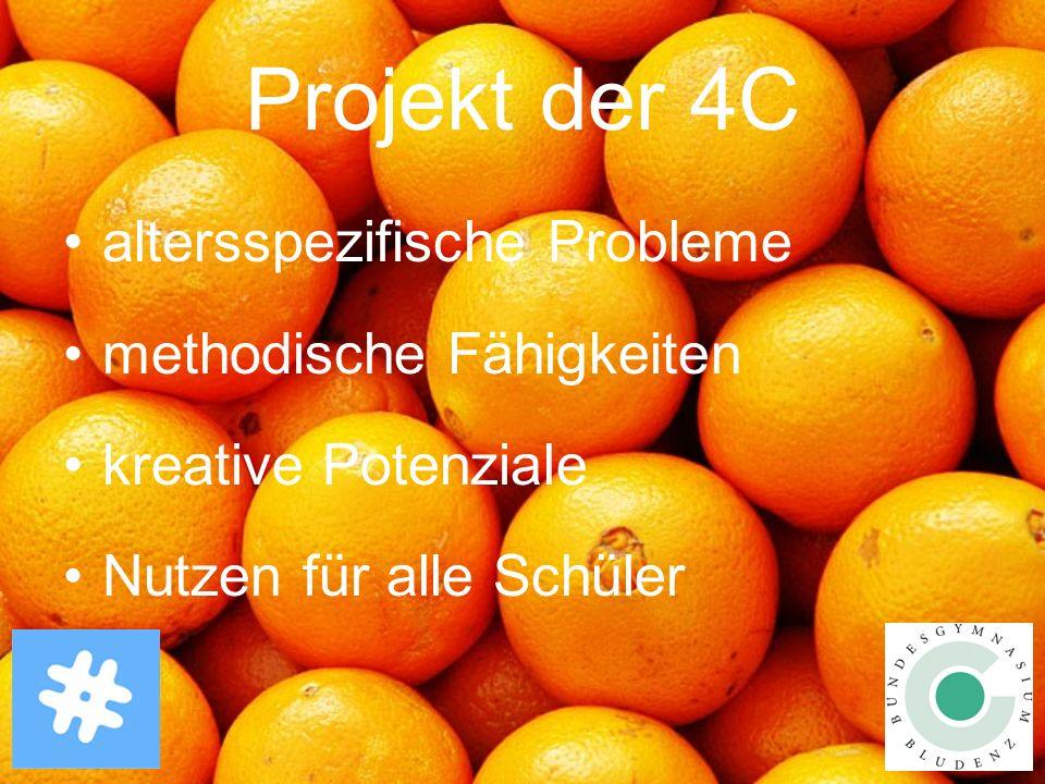 Projekt der 4C altersspezifische Probleme methodische Fähigkeiten kreative Potenziale Nutzen für alle Schüler
