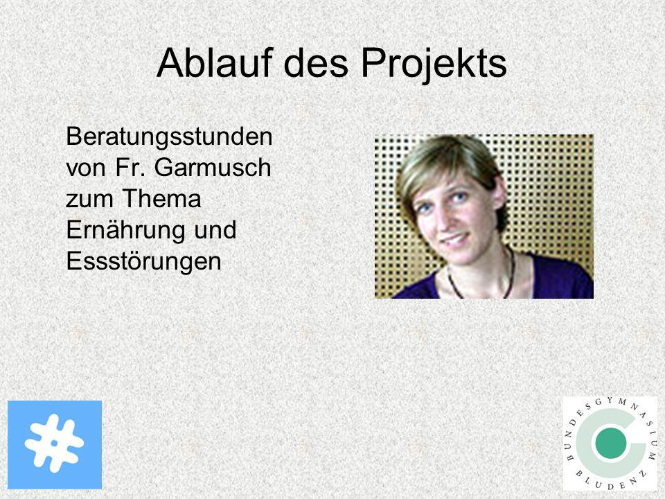 Ablauf des Projekts Beratungsstunden von Fr. Garmusch zum Thema Ernährung und Essstörungen