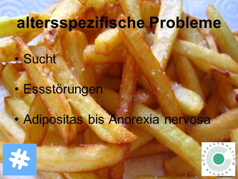 altersspezifische Probleme Sucht Essstörungen Adipositas bis Anorexia nervosa