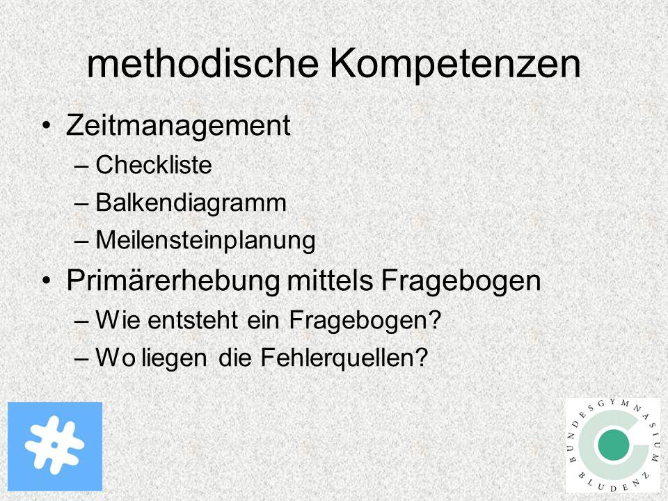 methodische Kompetenzen Zeitmanagement –Checkliste –Balkendiagramm –Meilensteinplanung Primärerhebung mittels Fragebogen –Wie entsteht ein Fragebogen.