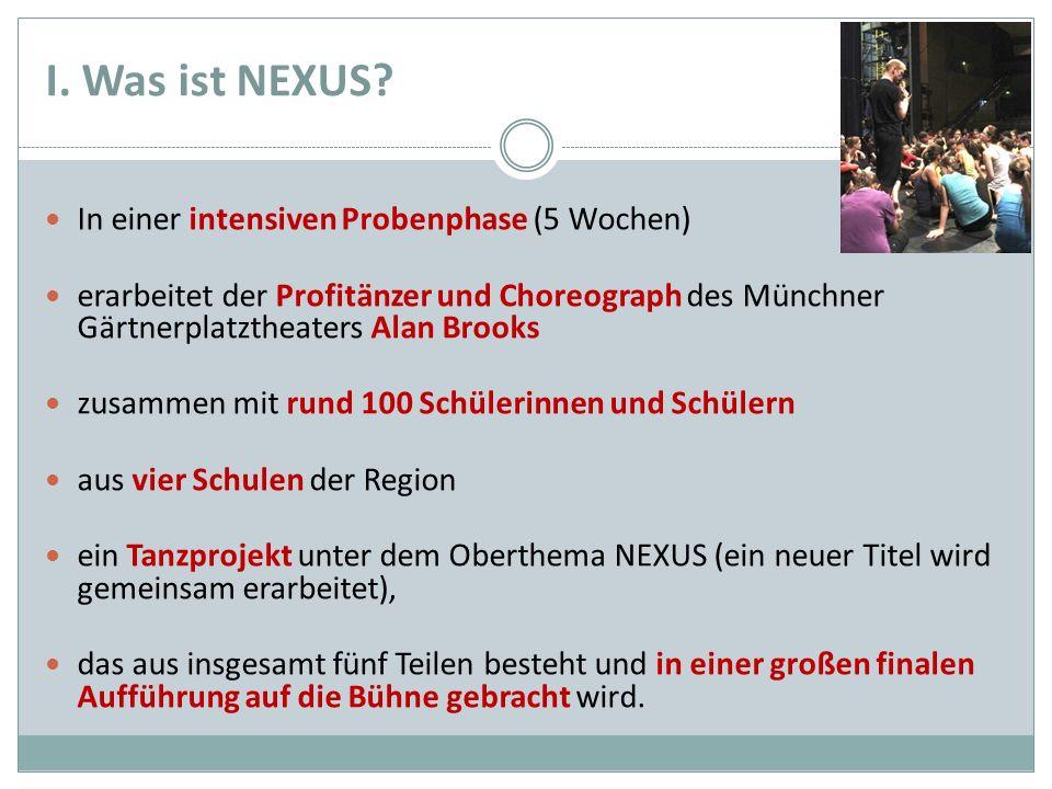 I. Was ist NEXUS? In einer intensiven Probenphase (5 Wochen) erarbeitet der Profitänzer und Choreograph des Münchner Gärtnerplatztheaters Alan Brooks