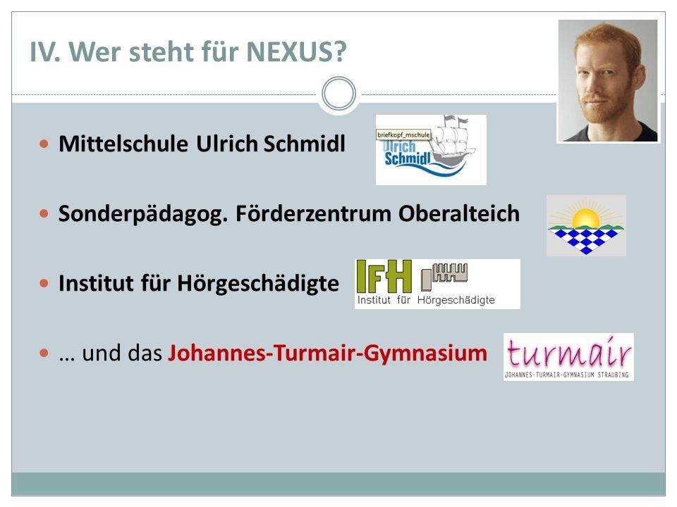 IV. Wer steht für NEXUS? Mittelschule Ulrich Schmidl Sonderpädagog. Förderzentrum Oberalteich Institut für Hörgeschädigte … und das Johannes-Turmair-G