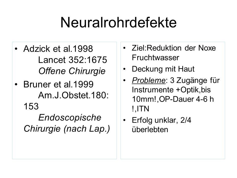 Neuralrohrdefekte Adzick et al.1998 Lancet 352:1675 Offene Chirurgie Bruner et al.1999 Am.J.Obstet.180: 153 Endoscopische Chirurgie (nach Lap.) Ziel:R