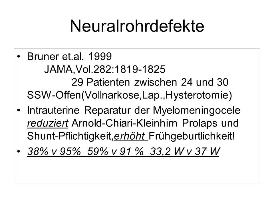Neuralrohrdefekte Sutton et.al 1999 JAMA 282:1826 10 Verschlüsse zwischen 22 und 25 Wochen 9 Überlebende Grad III Arnold- Chiari zu Grad I(nur 1x Shunt notwendig) Bruner et al.2000 Fet.Diag.Th.15:83 Endoscopie v Offen 4x Endosc.22-24SSW (2Überlebende,OP-Zeit 297+-69 min) 4x Offen 28-29SSW (4Überlebende, OP-Zeit 125+-8min)