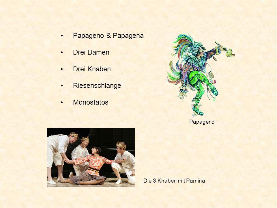 Papageno & Papagena Drei Damen Drei Knaben Riesenschlange Monostatos Papageno Die 3 Knaben mit Pamina